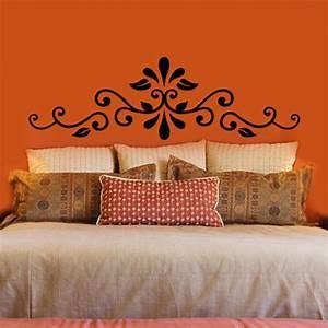 swirling henna headboard vinyl wall decal With headboard wall decal