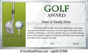 Golf Certificate Template Free Certificate Template For Golf Award Illustration Vector Search Clip Art Illustration