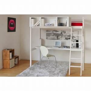 Lit Demi Hauteur : lit mezzanine sommier bureau rangement city pas cher ~ Premium-room.com Idées de Décoration