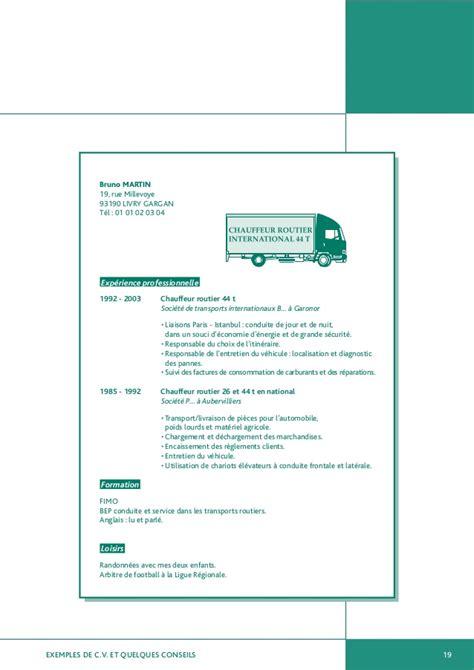 modele de lettre de motivation chauffeur routier modele cv chauffeur poids lourd document