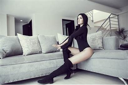 Leotard Boots Sitting Couch Knee Away Looking