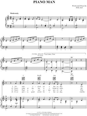 """My husband i entertain with music for public bbqs in mt. """"Piano Man"""" Sheet Music - 36 Arrangements Available Instantly - Musicnotes"""