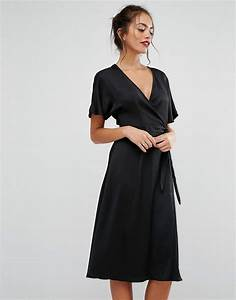 new look wrap front midi dress in black lyst With robe longue portefeuille