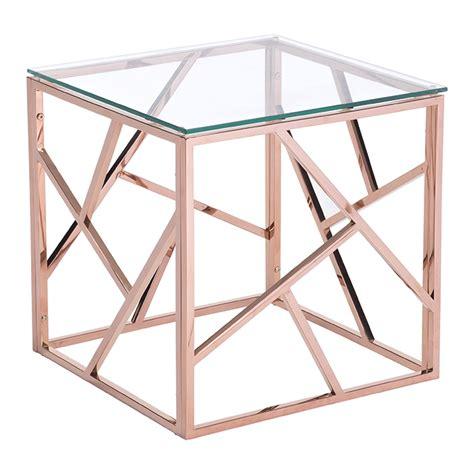 rose gold table l cage modern side table rose gold
