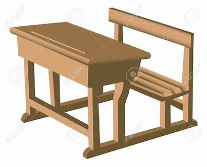 Desk Chair Clipart Wooden Table Illustration Brown