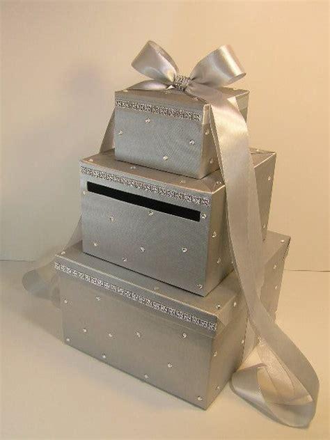 wedding card box silver gift card money card box holder