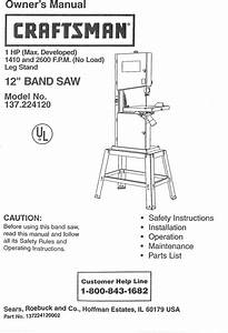 Craftsman 137224120 User Manual Band Saw Manuals And