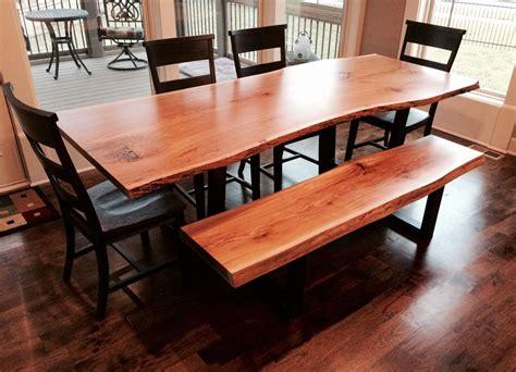 custom  edge dining room table  bench white oak