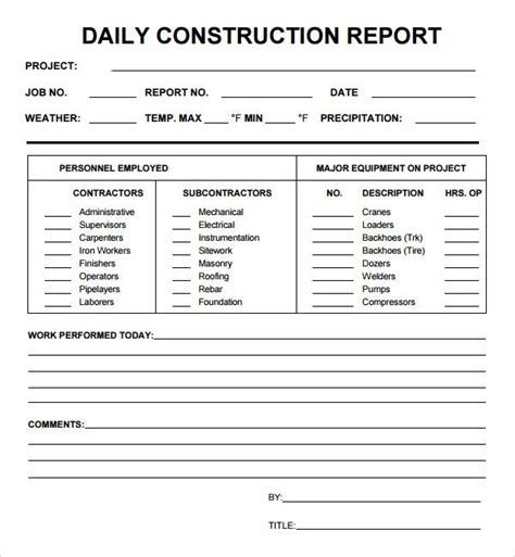 Construction Status Report Template