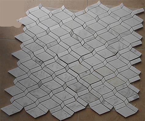 rhombus carrara white marble mosaic tiles backsplash