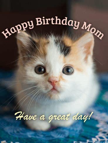 kitten happy birthday card  mom birthday