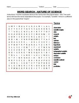 ssa prep 5th grade science nature of science word search vocabulary test