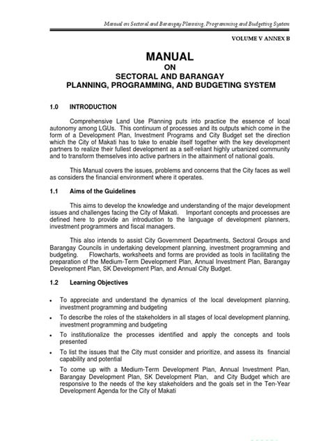 manual  sectoral  barangay planning programming