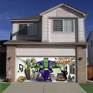 frank and friends outdoor halloween holiday garage door With 7x16 garage door