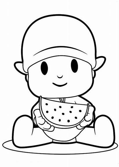 Watermelon Coloring Pocoyo Eating Pages Slice Colouring