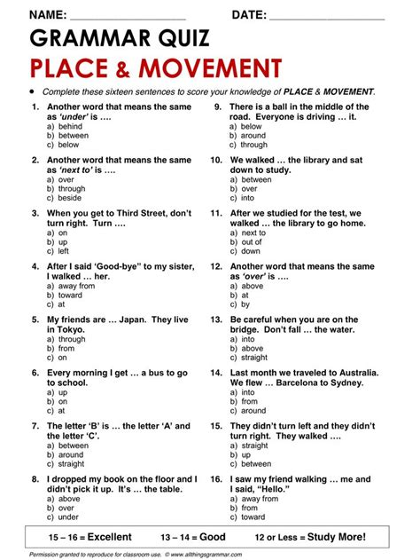 english grammar prepositions  place  movement www
