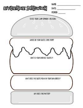 Sandwich Template For Writing Evidence Sandwich By Christi Carpenter Teachers Pay Teachers