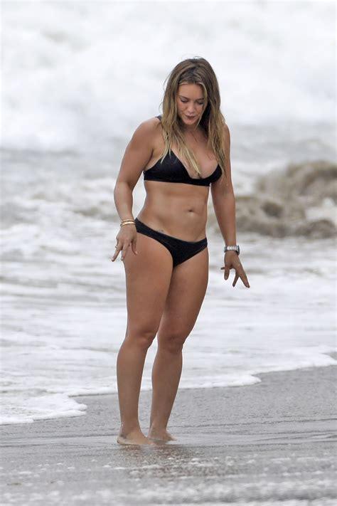 hilary duff  black bikini beach  malibu