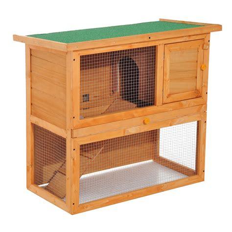 pawhut cage  lapin clapier  etage toit ouvrant aire de