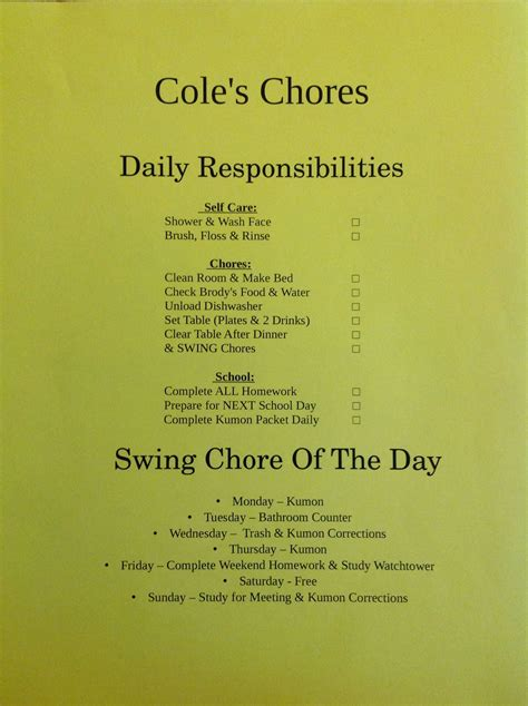chore chart    year  im   frame