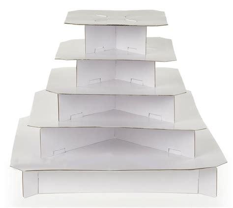 square cupcake stand classic white  tier cardboard