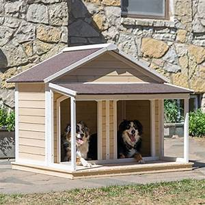 Antique large dog house w roof solid wood penthouse for 2 large dog house