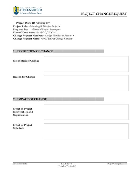 customer experience manager project change request template v2 0
