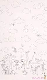 Fabric Miller Michael Panel Ballerina Border Coloring Cloud Modes4u sketch template