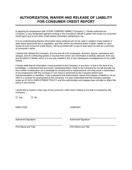 authorization waiver  release  employee credit