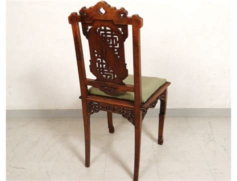 bureau chinois characters carved wooden office chair flowers