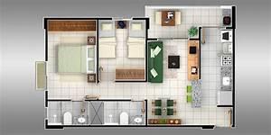 Plantas de apartamentos com 2 quartos Decorando Casas