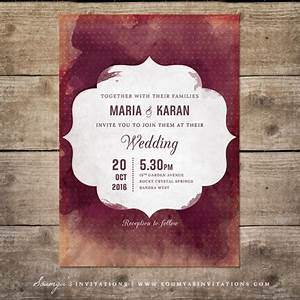 red and cream indian wedding invitation wine watercolor With red cream and gold wedding invitations