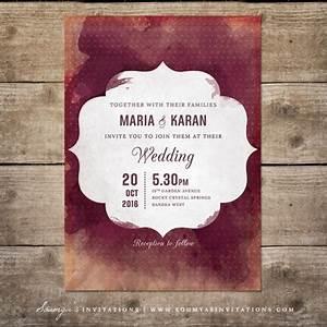 red and cream indian wedding invitation wine watercolor With wine red and gold wedding invitations