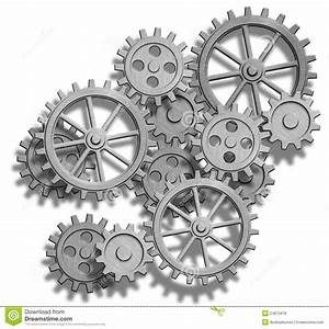 Abstract Mechanical Gears On White. Engineering Co Royalty ...
