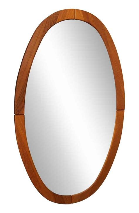 Mid Century Oval Wooden Framed Mirror  Olde Good Things