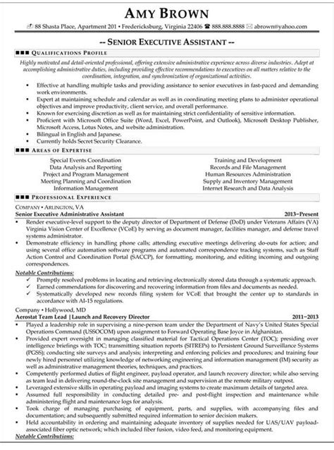 sle resume for executive assistant to senior executive the world s catalog of ideas