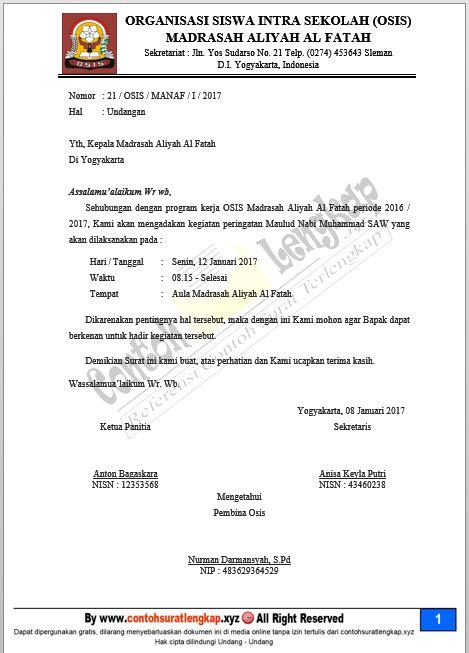 contoh surat resmi organisasi osis kumpulan contoh surat dinas resmi berbagai keperluan