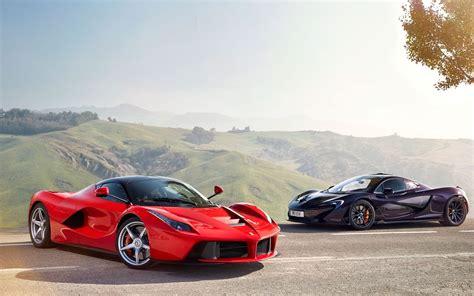 Mclaren Black Supercar And Ferrari Laferrari Red Supercar