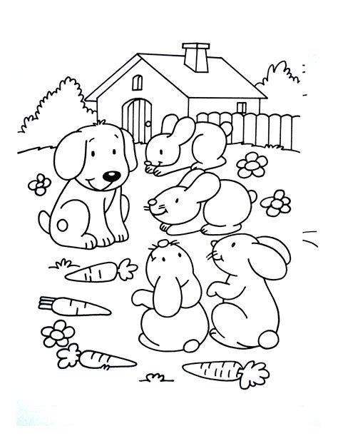 dog  children dog  rabbits dogs kids coloring pages