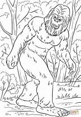 Bigfoot Coloring Pages Yeti Printable Sasquatch Drawing Supercoloring Tremendous Camping Silhouette Clipart Crafts Hunter Birthday Fortnite Pattern Books Adult Games sketch template