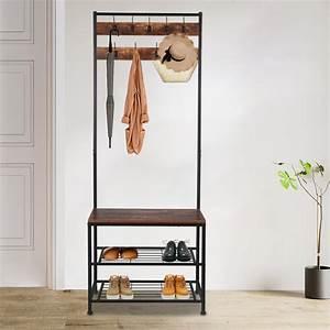Industrial, Coat, Rack, Hall, Tree, Entryway, Shoe, Bench, Storage, Shelf, Organizer, Accent, Furniture