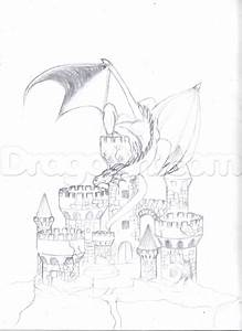 How To Draw A Dragon And Castle Step 7