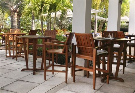 teak high top patio tables  chairs   outdoor