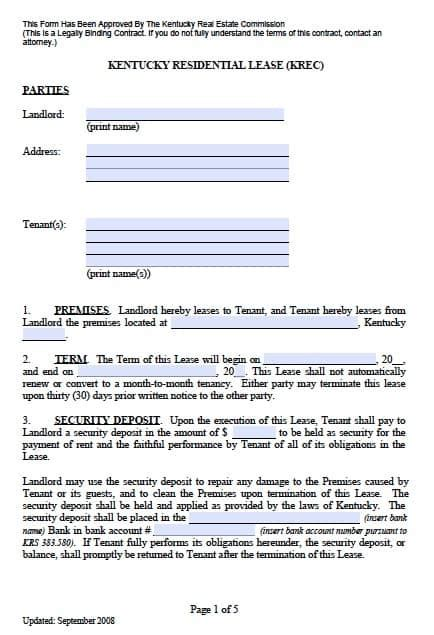kentucky residential lease agreement  template