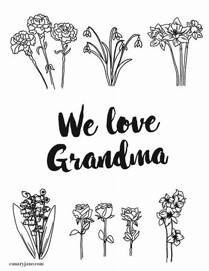 Mothers Grandma Coloring Printable Pages Card Cards