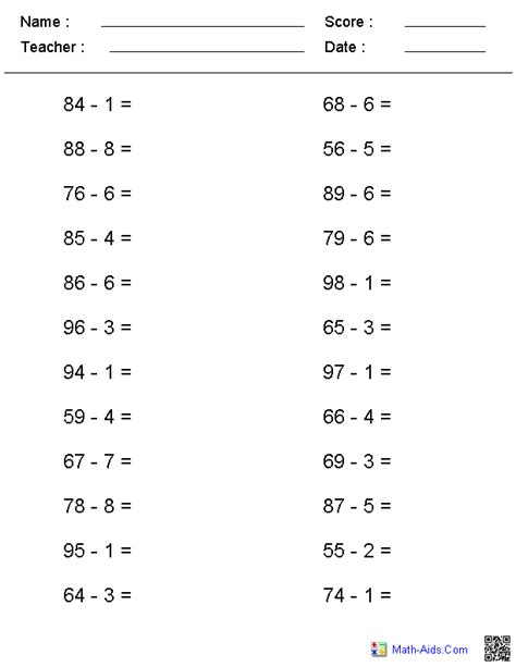 single digit vertical multiplication with regrouping no regrouping horizontal format subtraction worksheets