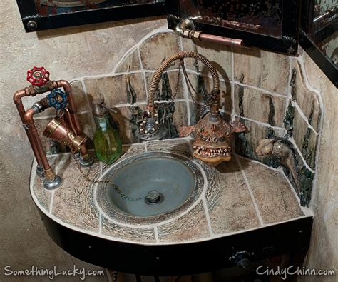 crafted steunk sculpted tile sink and vanity by