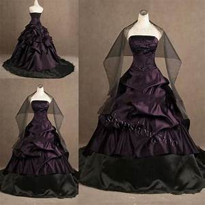 custom gothic ball gown purple and black plus size wedding With plus size gothic wedding dresses