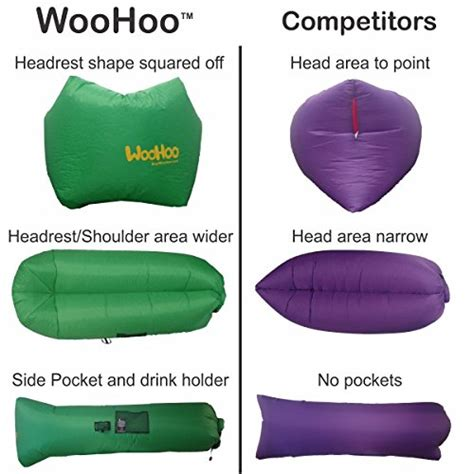 woohoo inflatable lounger air filled balloon furniture  carry bag inflates  seconds