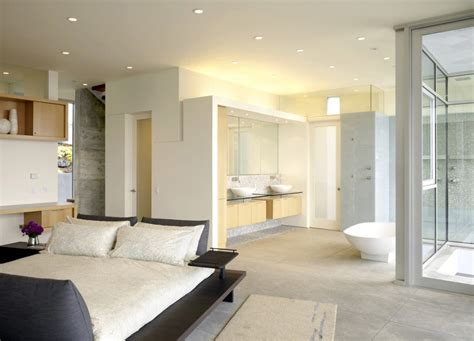 Modern Bathroom And Bedroom by Open Bathroom Concept For Master Bedrooms